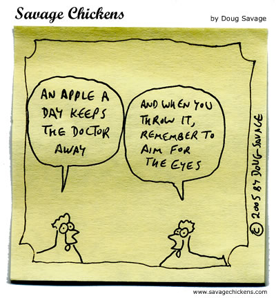 An Apple A Day Cartoon | Savage Chickens - Cartoons on Sticky Notes by ...