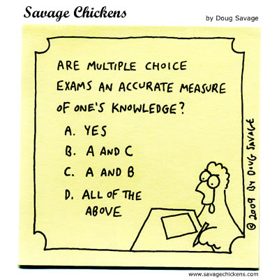 mutiple choice, savage chicken