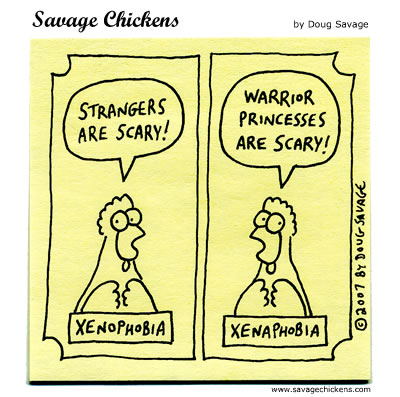 Phobia Cartoon | Savage Chickens - Cartoons on Sticky Notes by ...