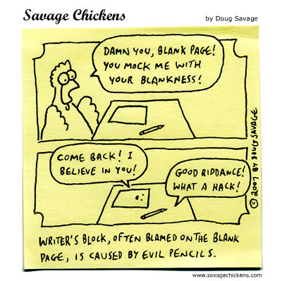 Savage Chickens - Writer's Block