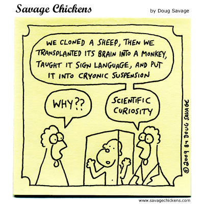 Cloning Cartoons Savage Chickens Cartoons On Sticky Notes By